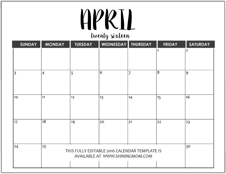 Just In: Fully Editable 2016 Calendar Templates In Ms Word Calendars To Fill In And Print For Free