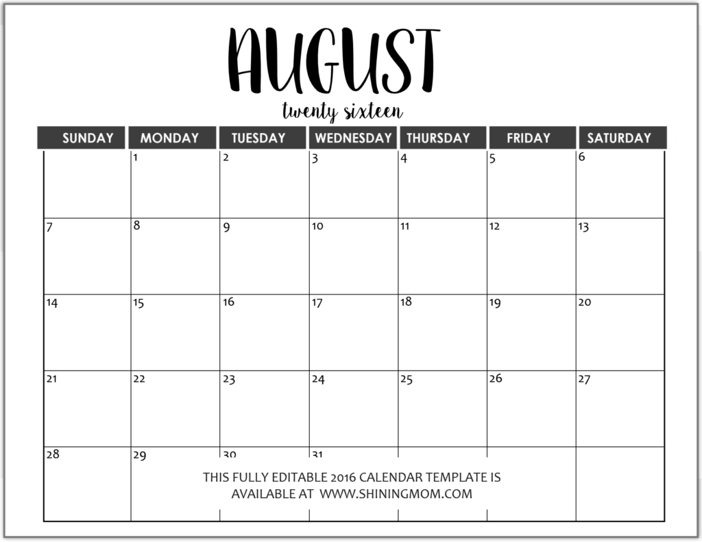 Just In: Fully Editable 2016 Calendar Templates In Ms Word Printable Calendar Monthly Fill In