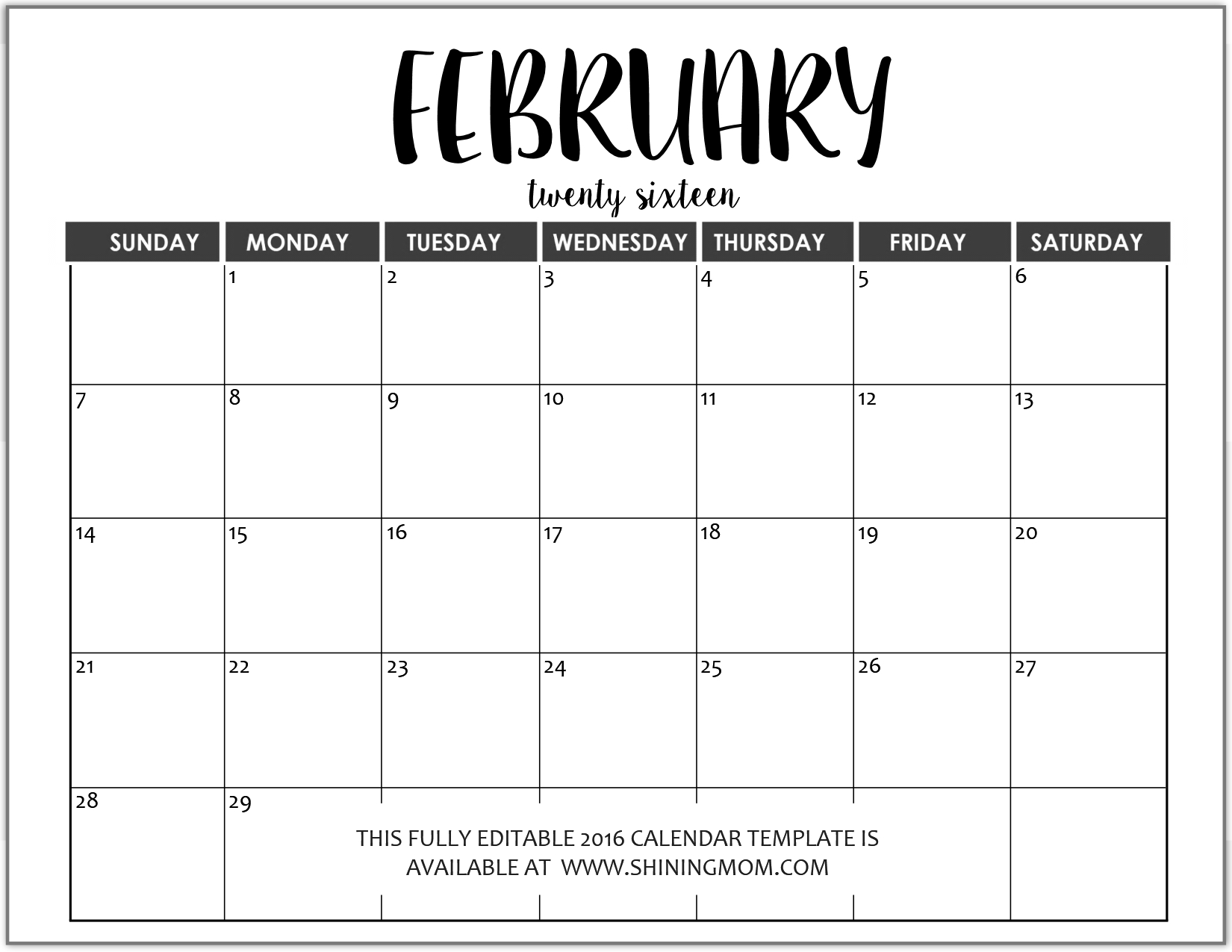 Just In: Fully Editable 2016 Calendar Templates In Ms Word Weekly Fill In Calendar