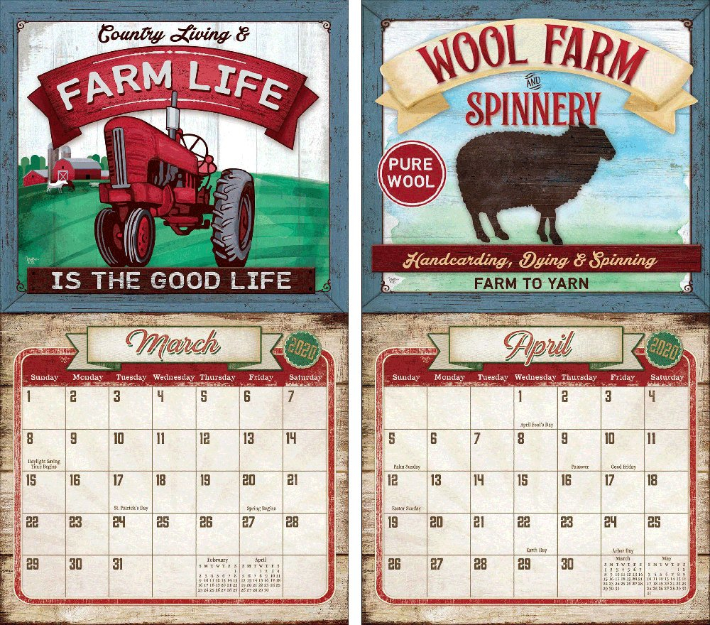 Legacy Farm To Table 2020 Wall Calendar | The Lang Store Wooden 3 Month Calendar Frame