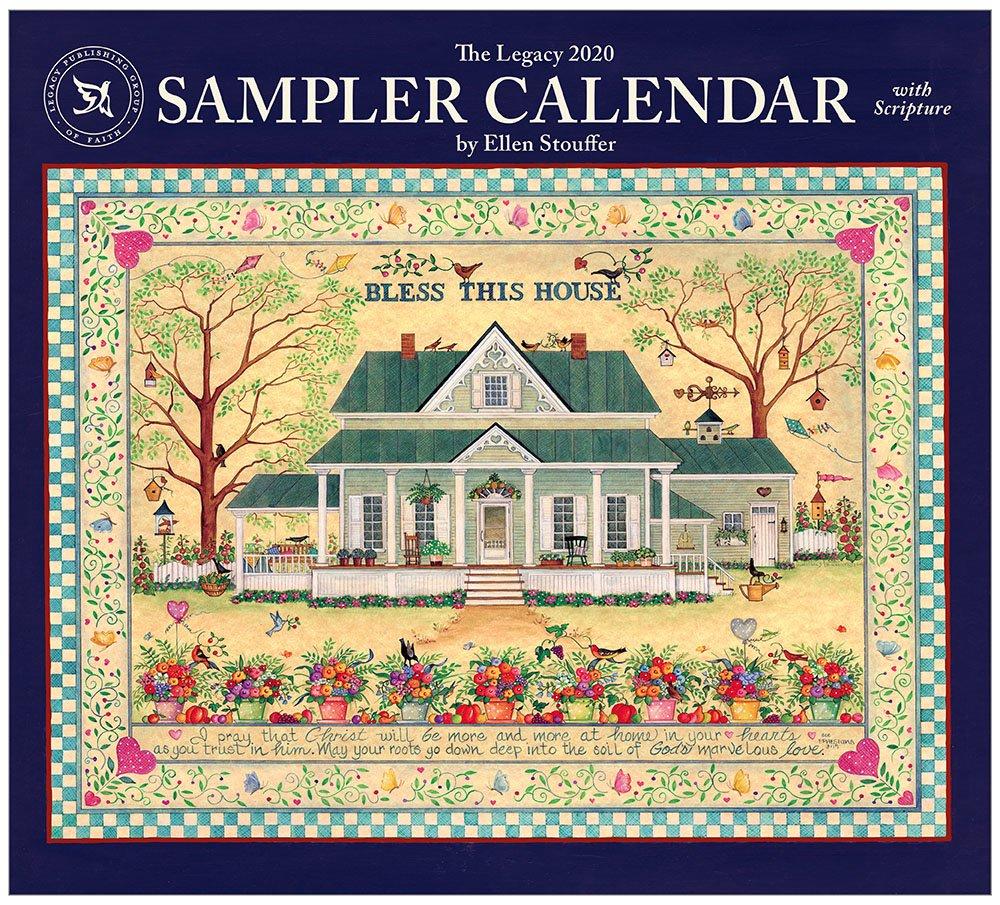 Legacy Sampler Calendar 2020 Wall Calendar | Artworkcalendars Wooden 3 Month Calendar Frame