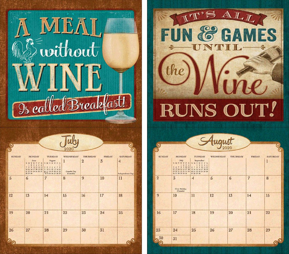 Legacy Wine 2020 Wall Calendar | The Lang Store Wooden 3 Month Calendar Frame