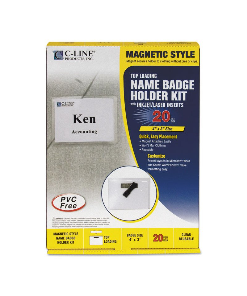 Magnetic Name Badge Holder Kit, Horizontal, 4W X 3H, Clear Free Wordperfect Calendar Templates