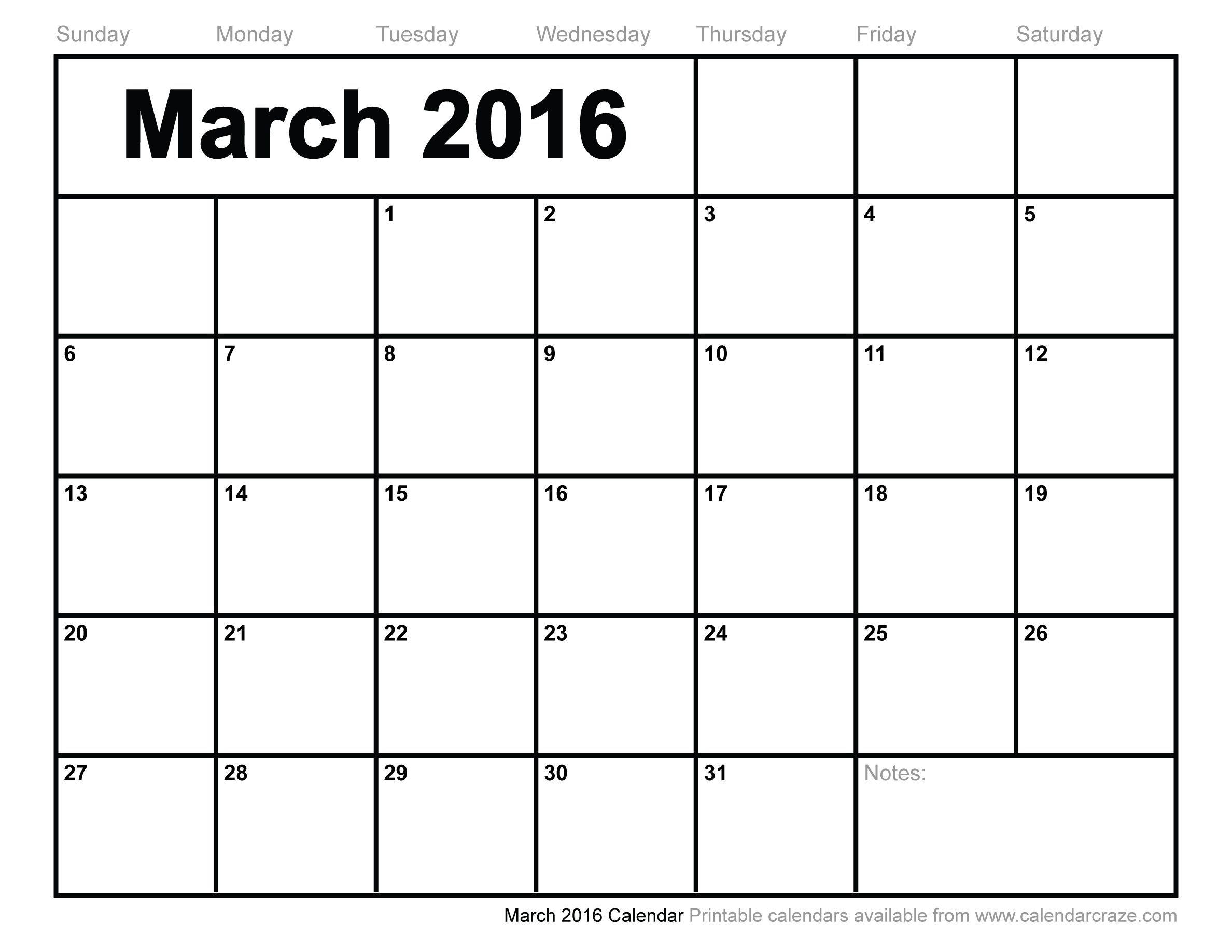 Mar 2016 Calendar Printable Pdf - Google Search Blank Calendars To Fill In Online
