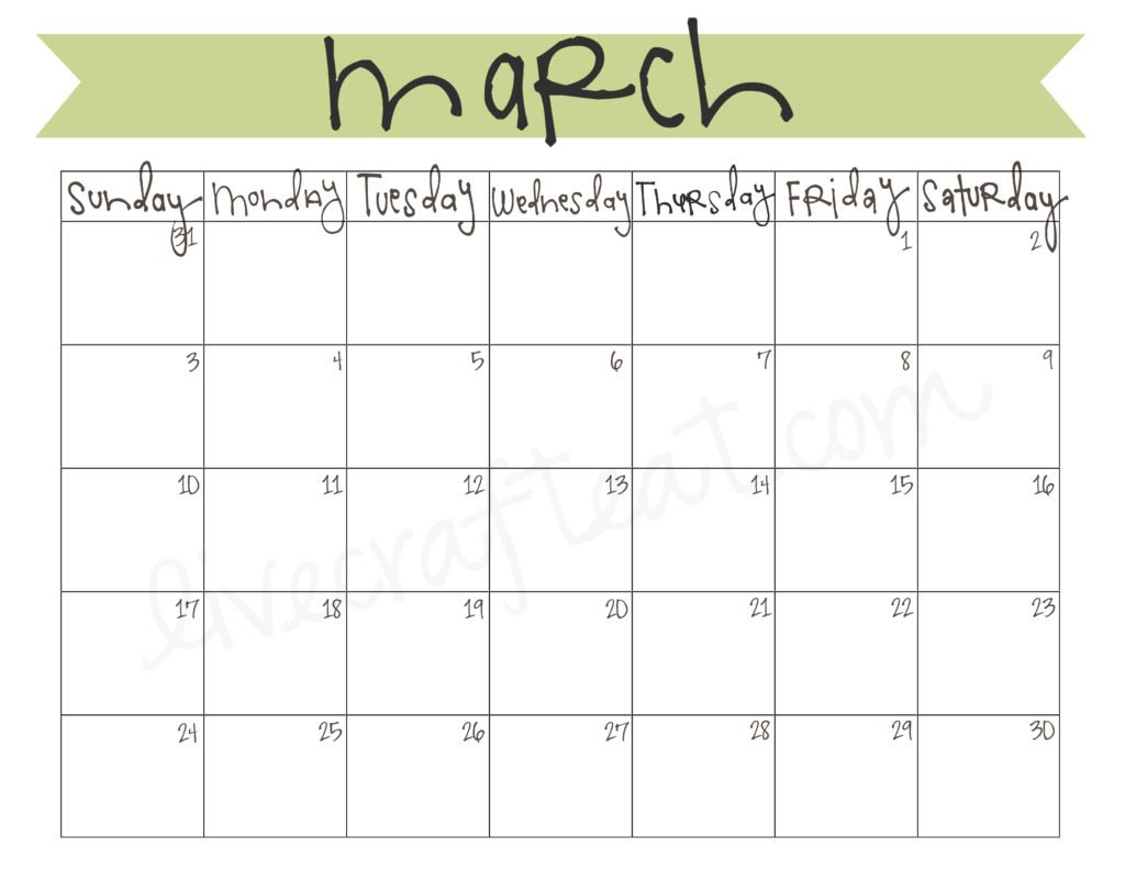March 2013 Calendar - Free Printable | Live Craft Eat Calendar To Fill In And Print