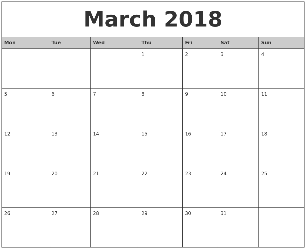 March 2018 Monthly Calendar Printable Monthly Mon Friday Calendar
