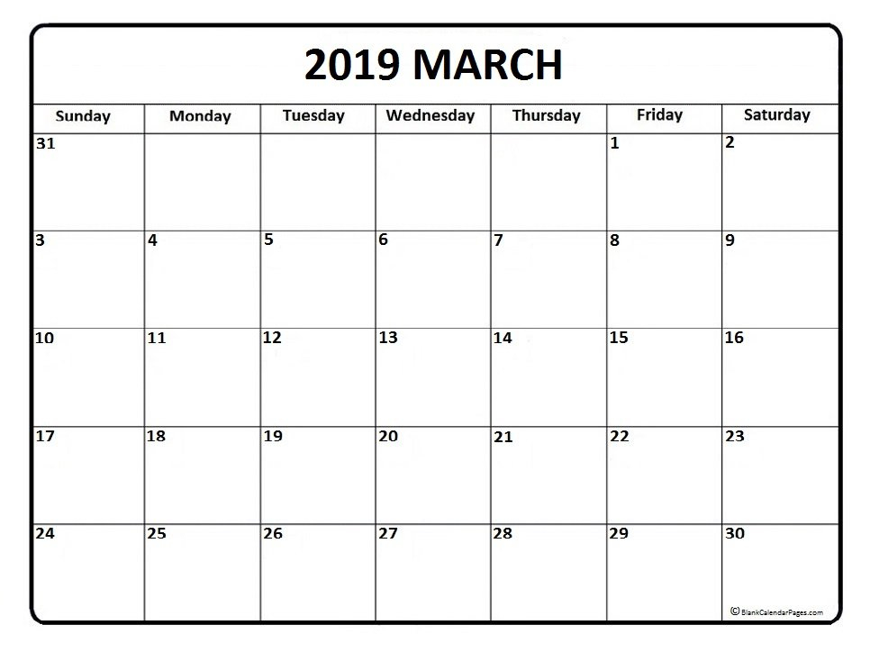 March 2019 Calendar – Calendar Printable Week 2 Week Calendar March