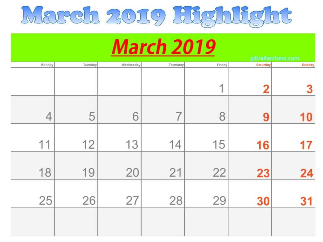 March 2019 Calendar Highlight Sunday Saturday | 2019 Blank Sunday Through Saturday Calendar