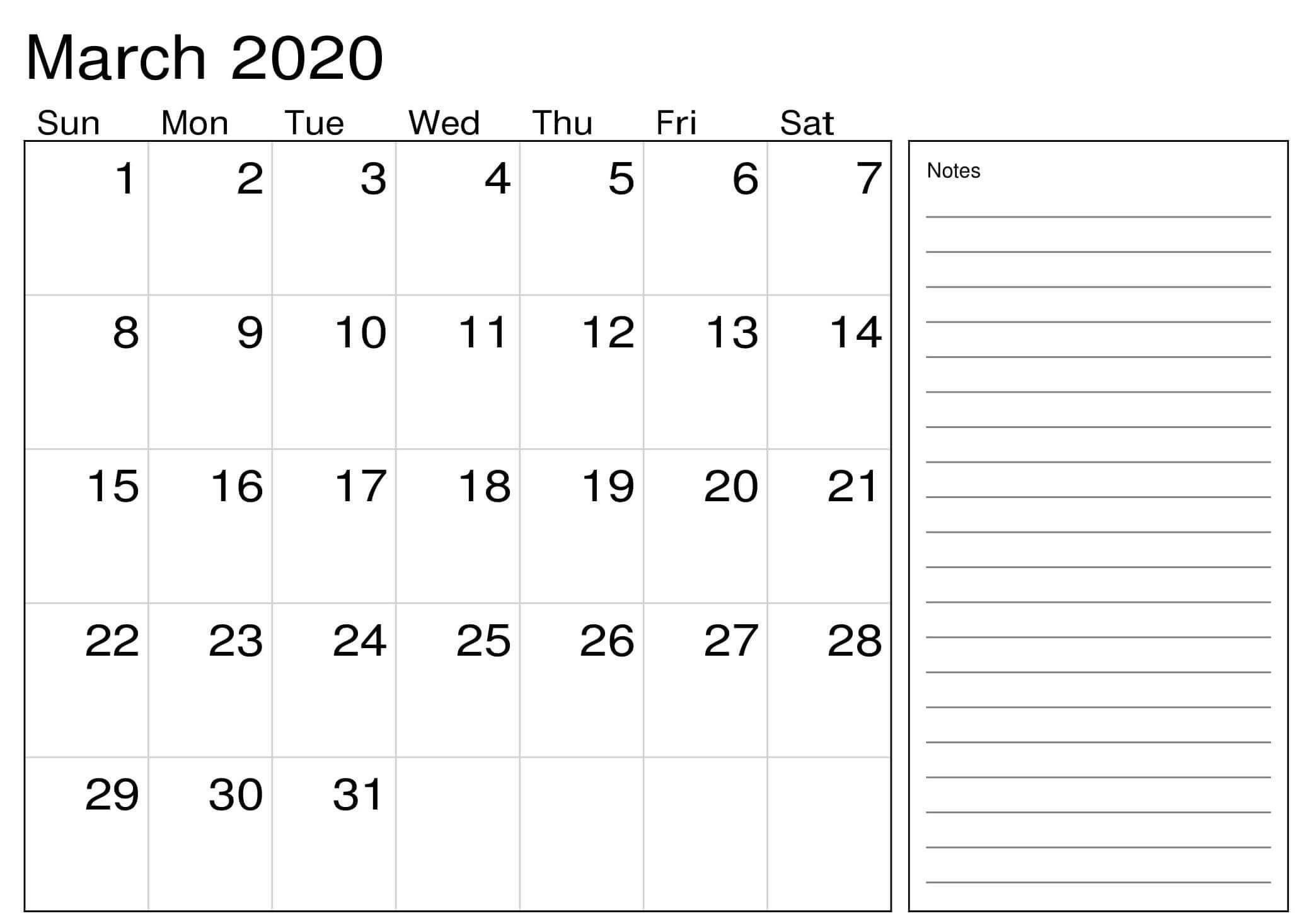 March 2020 Calendar Excel Sheet | Free Printable Calendar 2 Week Activity Calendar Editable