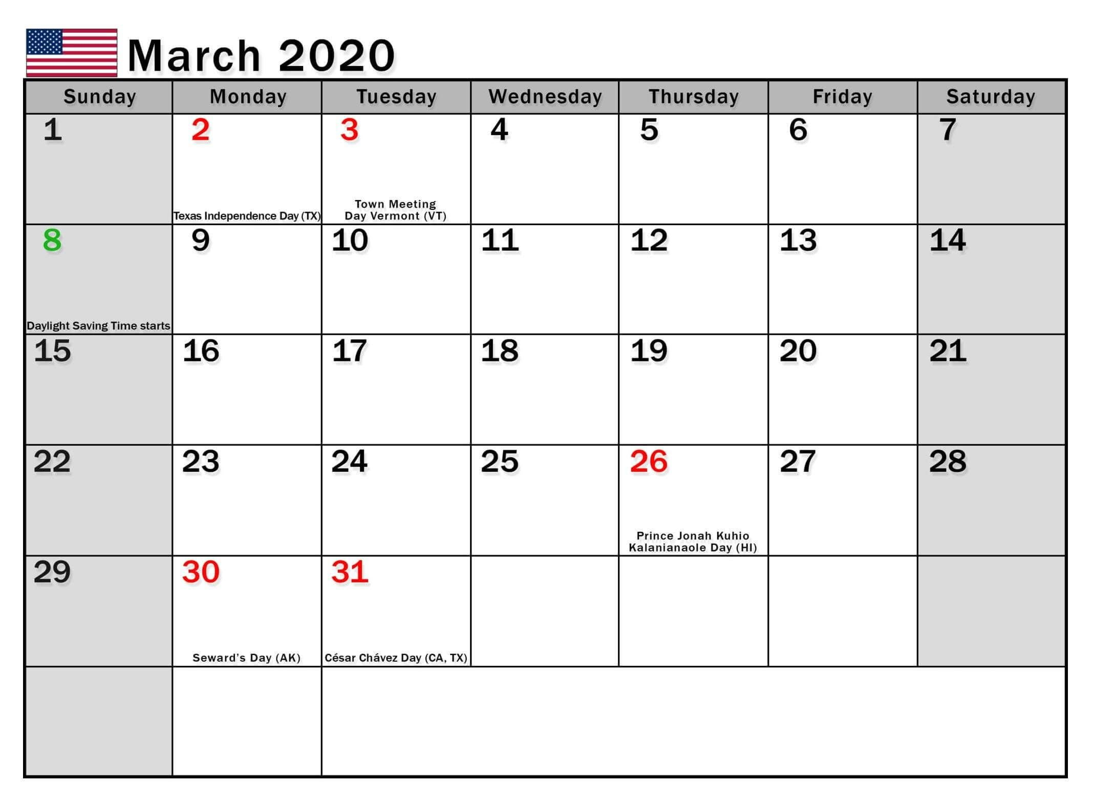 March -2020 Calendar Us Bank Holidays In 2020 | Holiday Calendear That I Can Edit With Holidays On It
