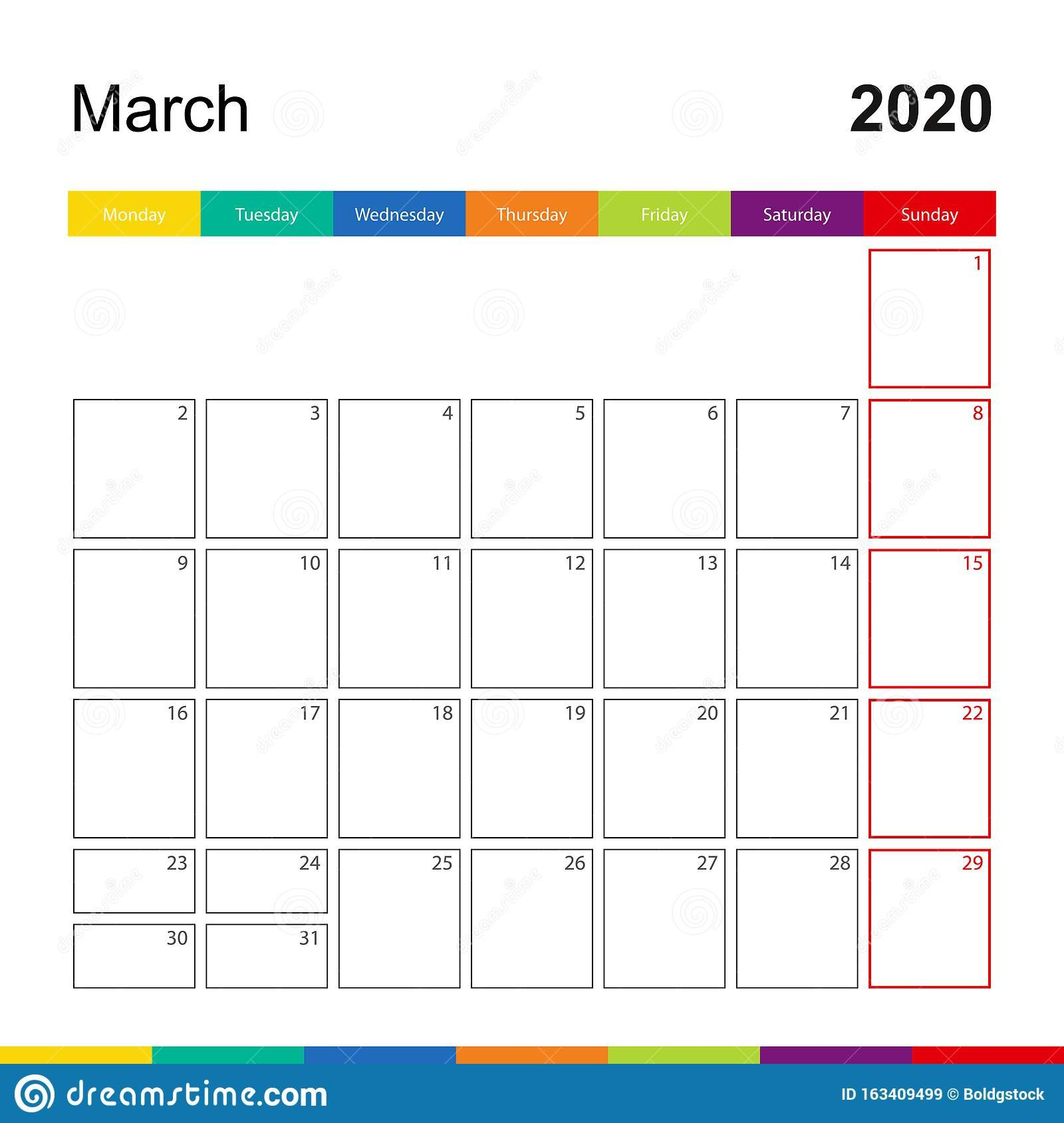 March 2020 Colorful Wall Calendar, Week Starts On Monday Printable Calendar For The Week Of March 2 Thru March 6