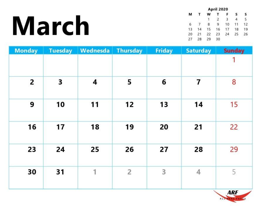 March 2020 Printable Calendar In 2020   Printable Calendar Calendar You Can Edit Online