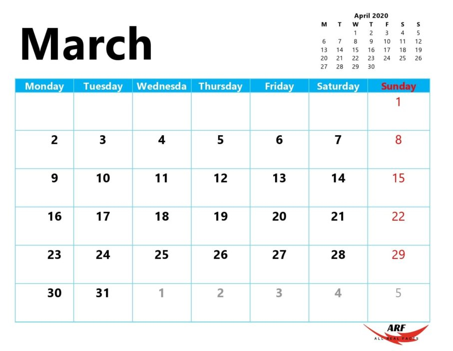 March 2020 Printable Calendar In 2020 | Printable Calendar Calendars You Can Edit Online