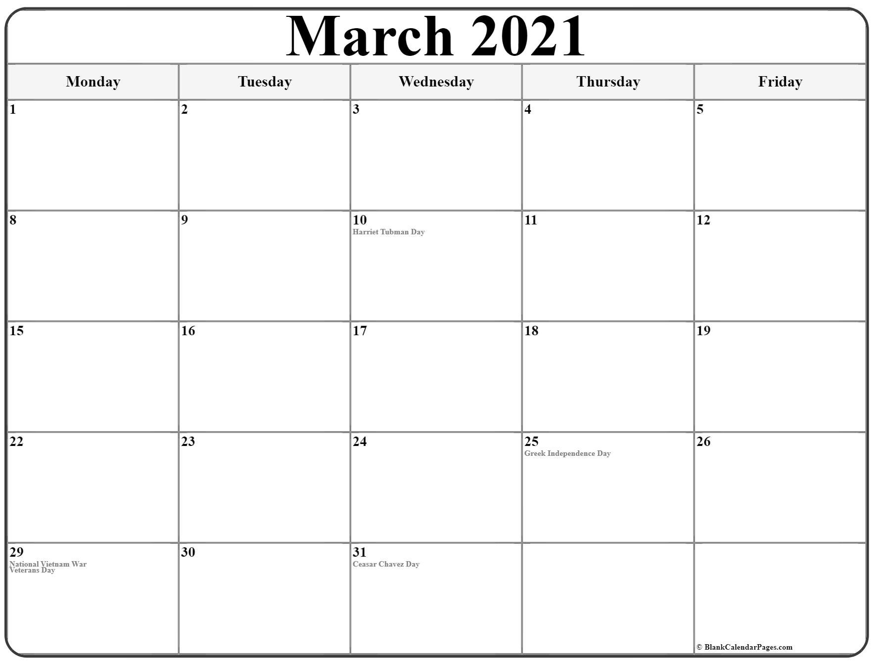 March 2021 Monday Calendar | Monday To Sunday Printable Calendar Monday- Friday