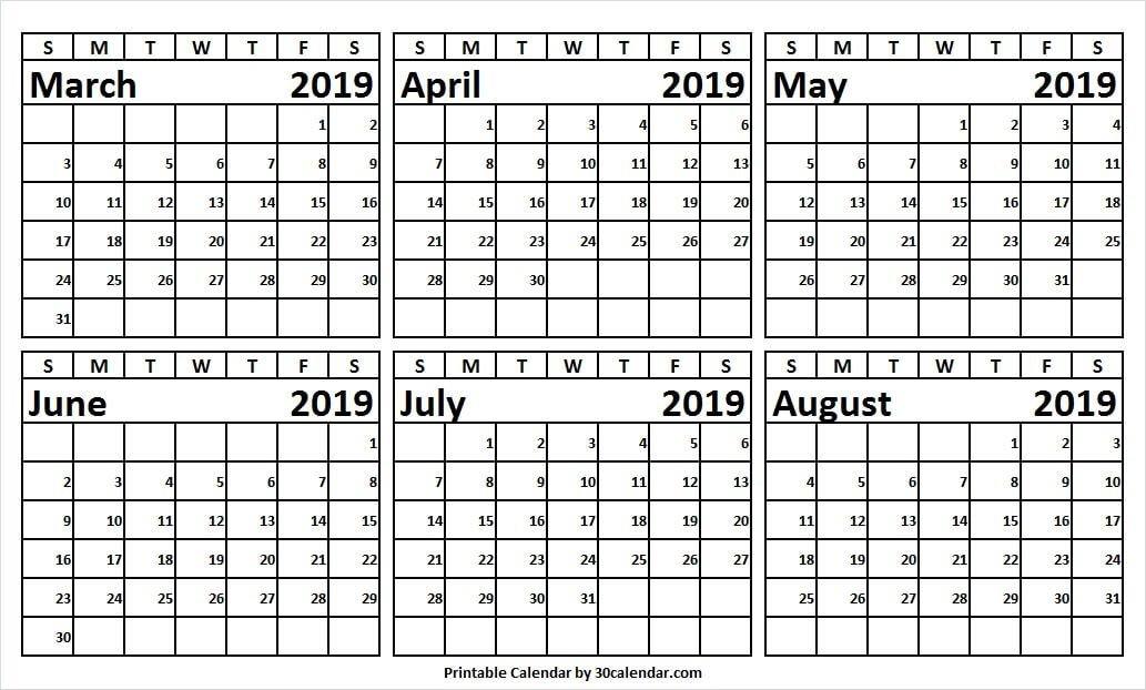 March August 2019 Half Year Calendar Printable | Weekly 2 Week Calendar March