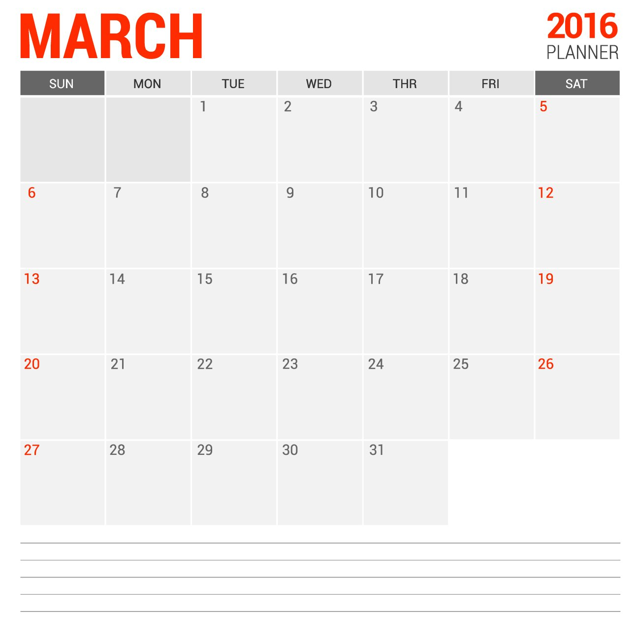 March Blank Calendar 2016 For Free To Print | Calendars Blank 31 Day Calendar Form