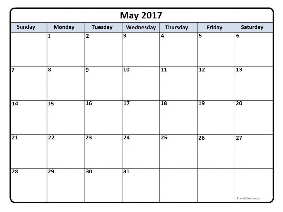 May 2017 Calendar | Free Printable Monthly Calendars 8X11 Full Page Weekly Calendar