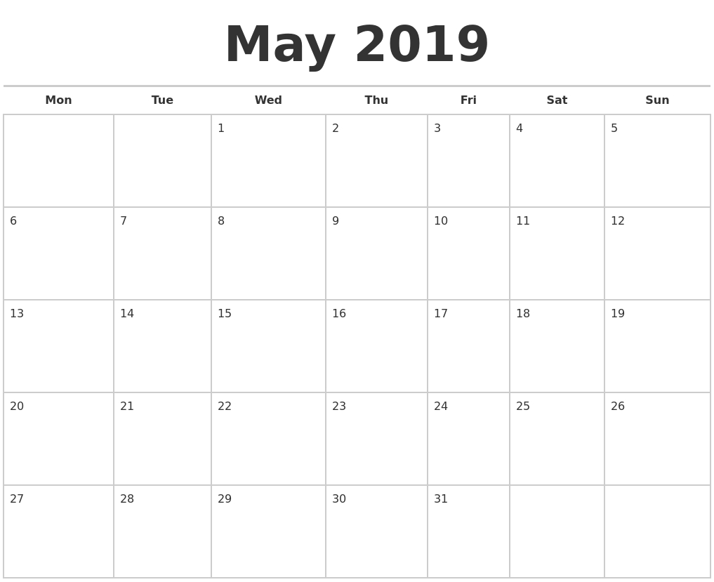 May 2019 Calendars Free May Calendar Starting On Monday