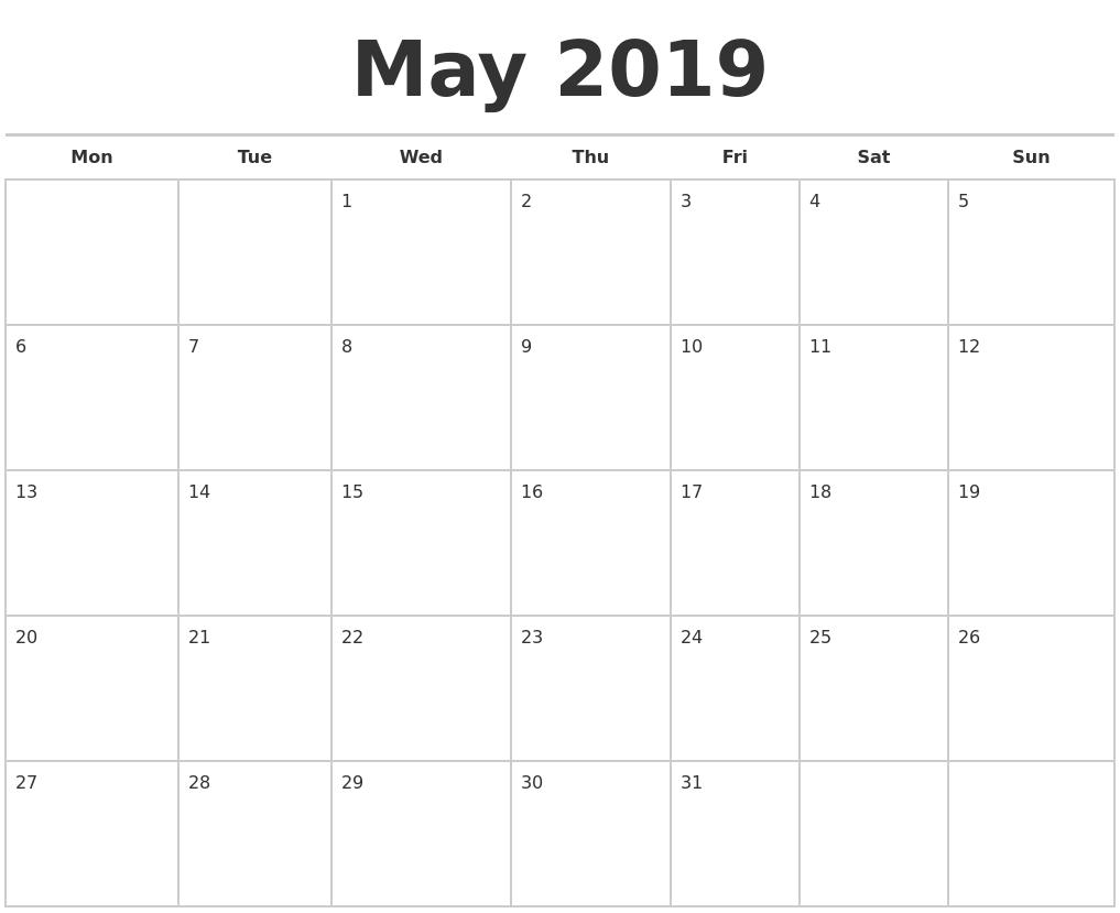 May 2019 Calendars Free May Calendar Starting On Monday