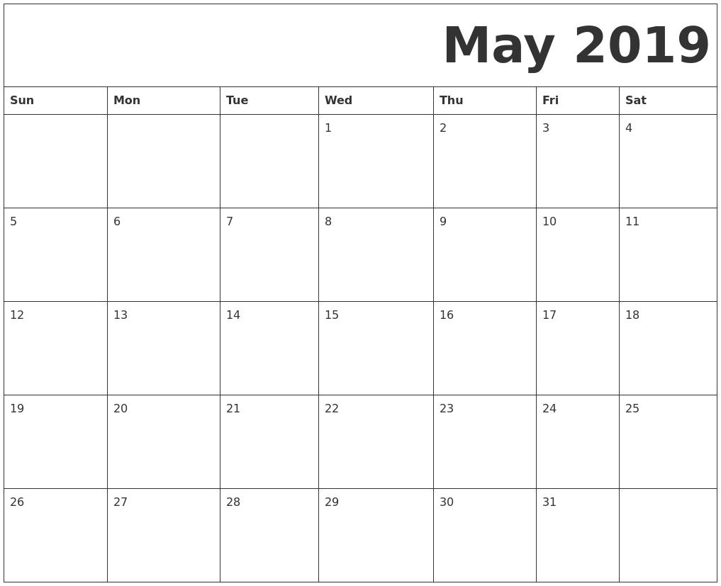 May 2019 Printable Calendar Templates - Free Blank, Pdf Free Blank Printable Monthly Calendar Pdf