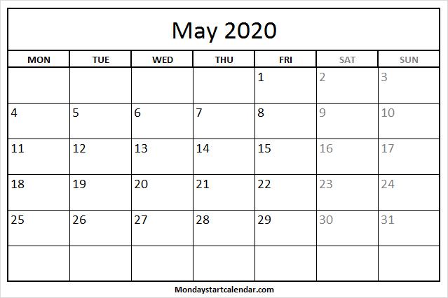 May 2020 Calendar Monday To Friday | Free Holidays Template Mon Fri Calendar Template