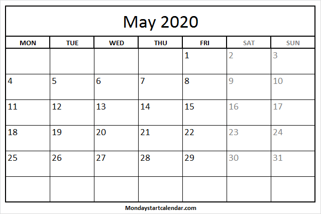 May 2020 Calendar Monday To Friday | Free Holidays Template Mon-Fri Monthly Calendar Template