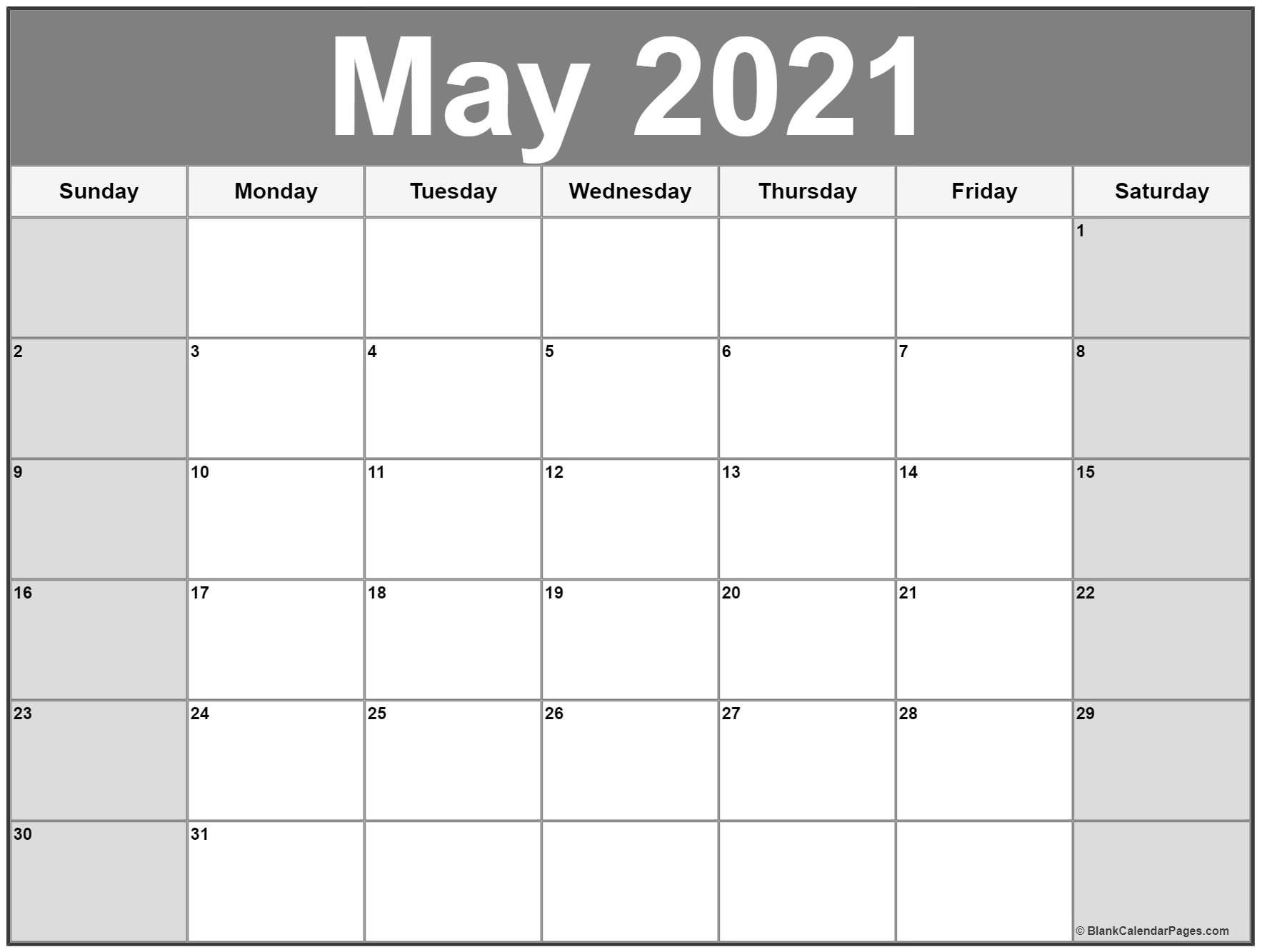 May 2021 Calendar | Free Printable Monthly Calendars Blank 30 Day Calendar Starting May 24
