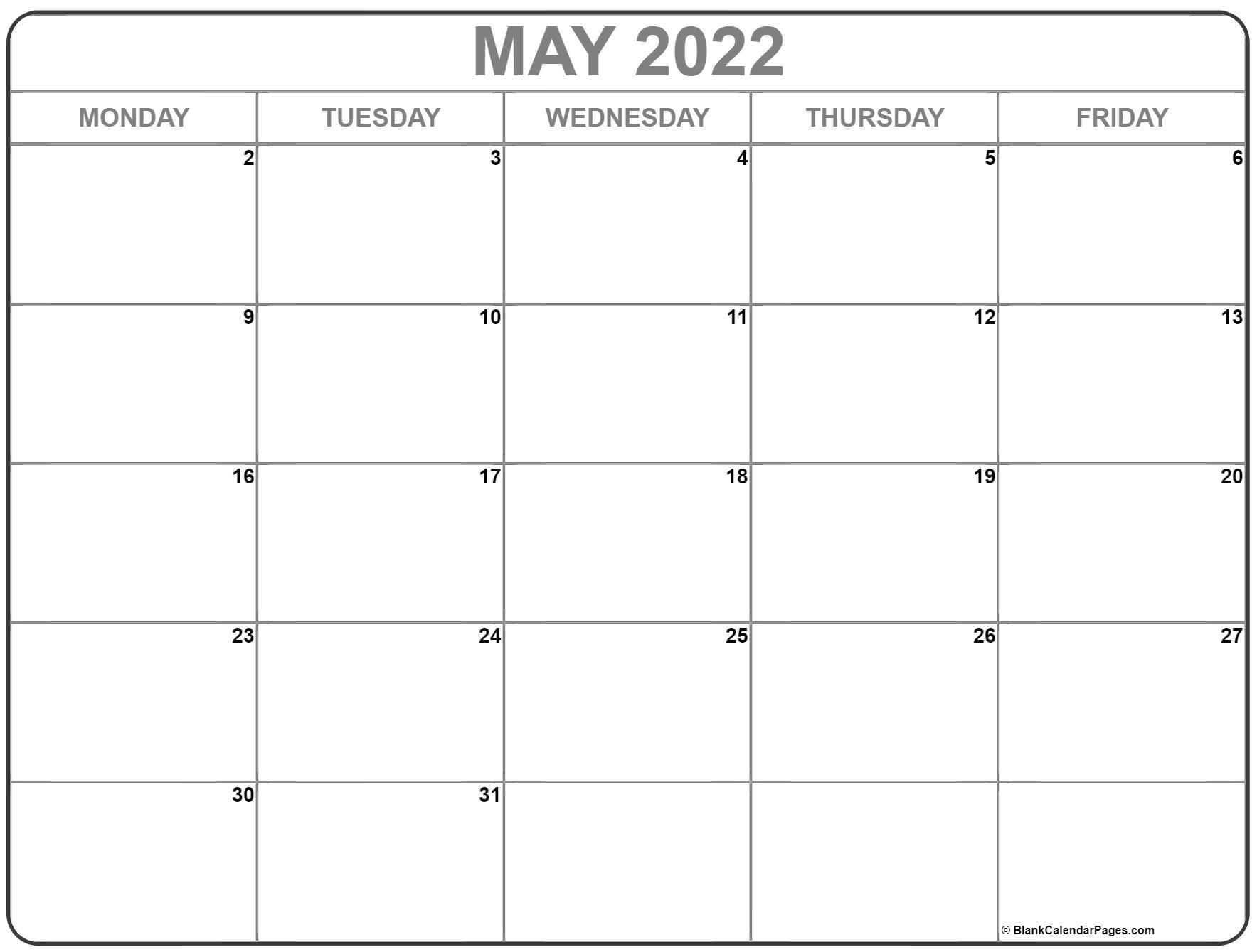 May 2022 Monday Calendar   Monday To Sunday Free Printable Calendar Mon To Fri