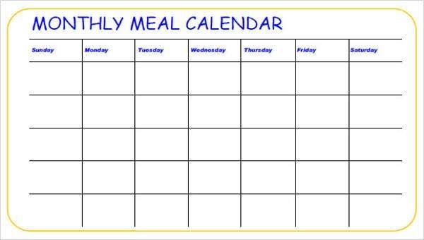 Meal Calendar Templates - 10+ Free Word, Pdf Format Word 5 Day Calander