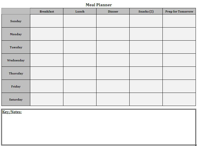 Meal Planner Template | Cyberuse 7 Day Router Blank