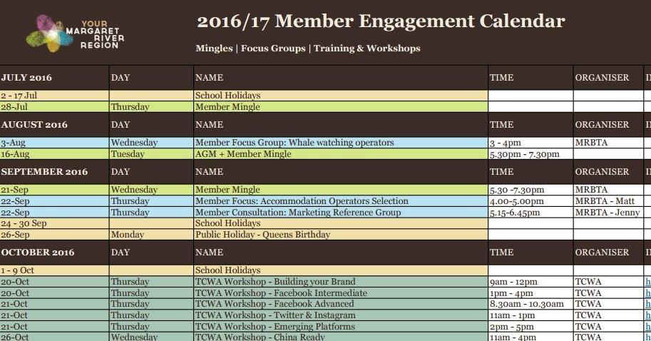 Member Engagement Calendar - Mrbta Content Calendar For Member Newsletters