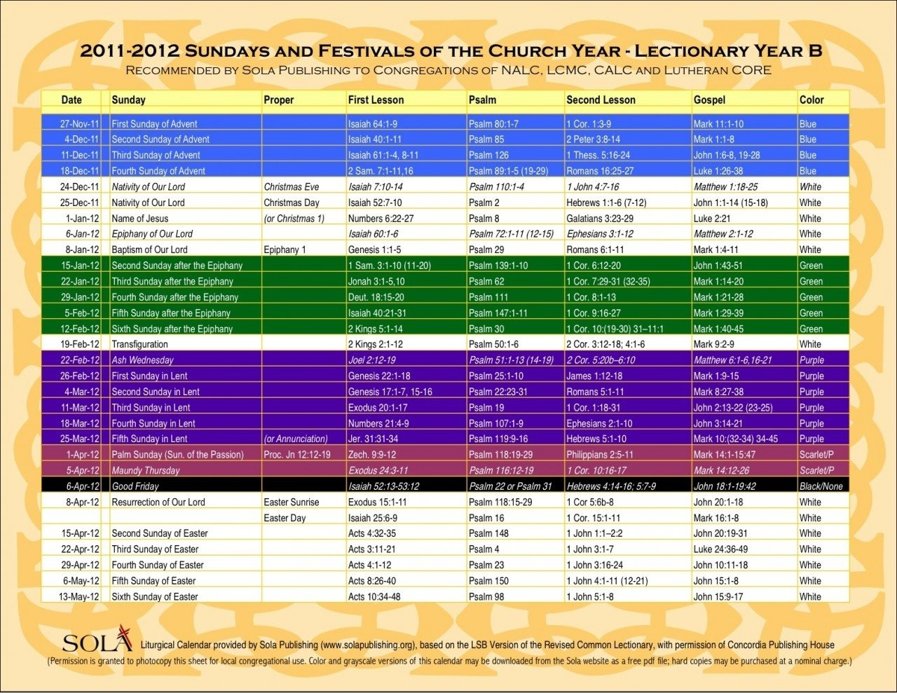 Methodist Liturgical Calendar 2019 Printable Yearly Church Calendar Template Free