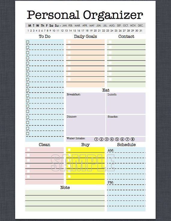 Mini Personal Organizer Half Letter Size Editable Daily Printabel Planner Pages For 5.5 X 8.5 Planner