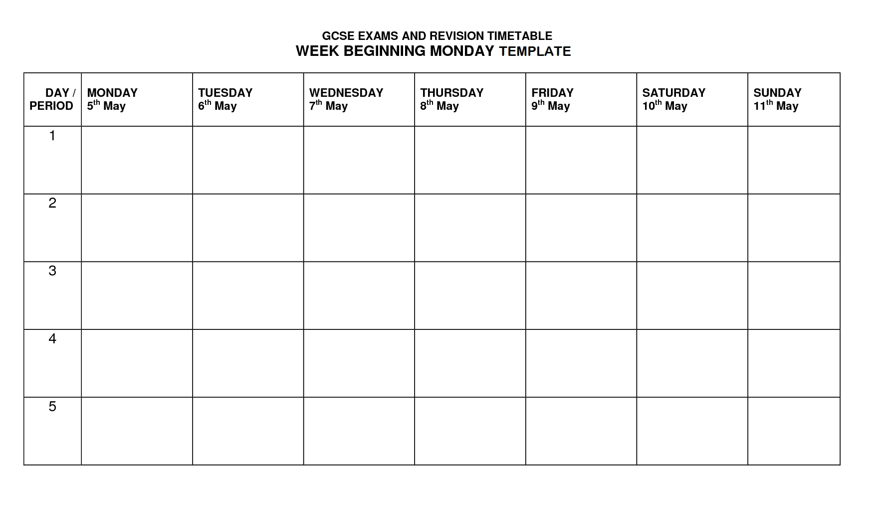 Monday – Friday Timetable Template   Calendar Template Printable Monday To Friday Timetable
