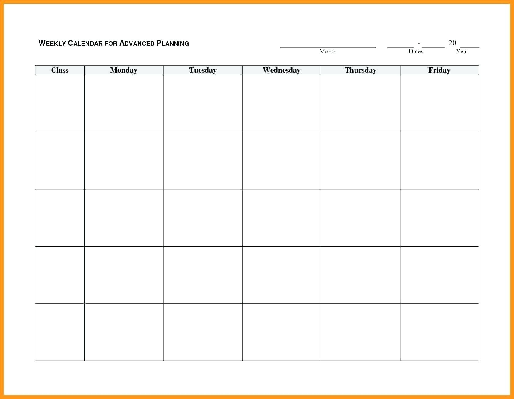 Monday Through Friday Planner Template - Calendar Free Printable Weekly Schedule Monday-Fridays