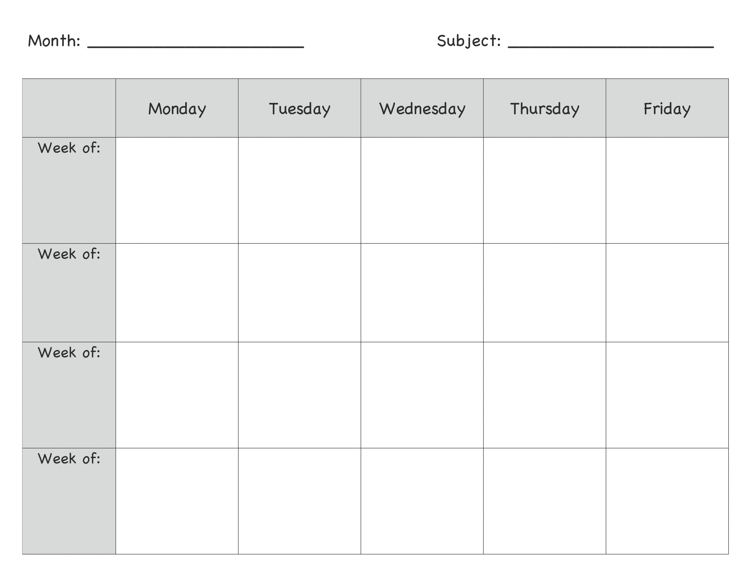 Monday Through Friday Planning Template | Calendar Monday Thru Friday Printable Calendar