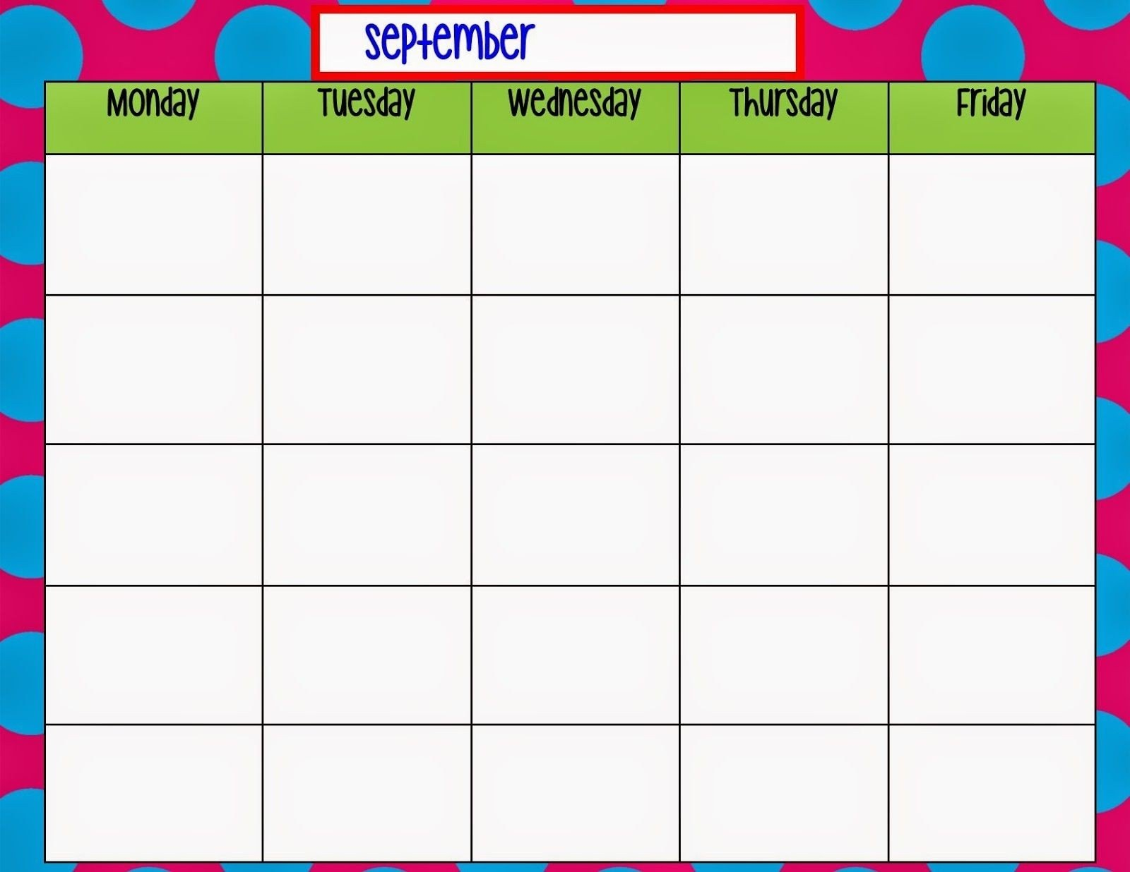 Monday Through Friday Schedule Template | Calendar Monday Through Friday Calendar