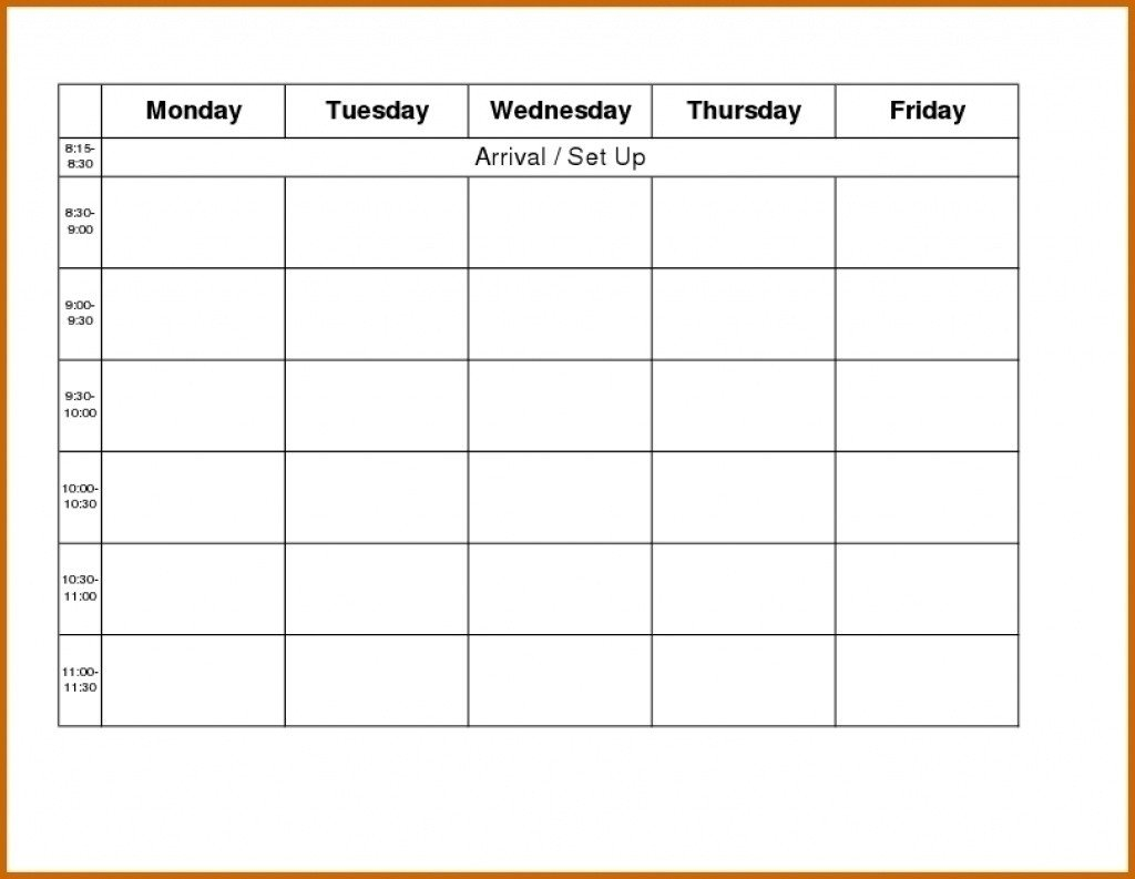 Monday Through Friday Schedule Template | Calendar Monday To Friday Tempate Printable