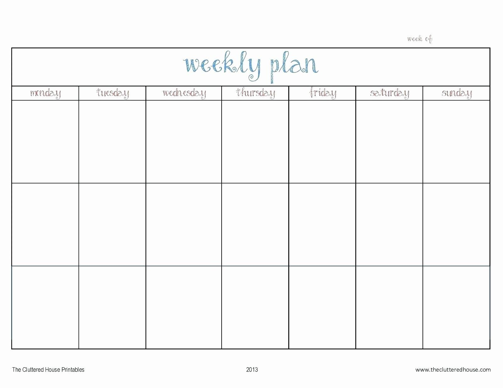 Monday Through Friday Schedule Template Unique Week Free Printable Monday Through Friday Calendar