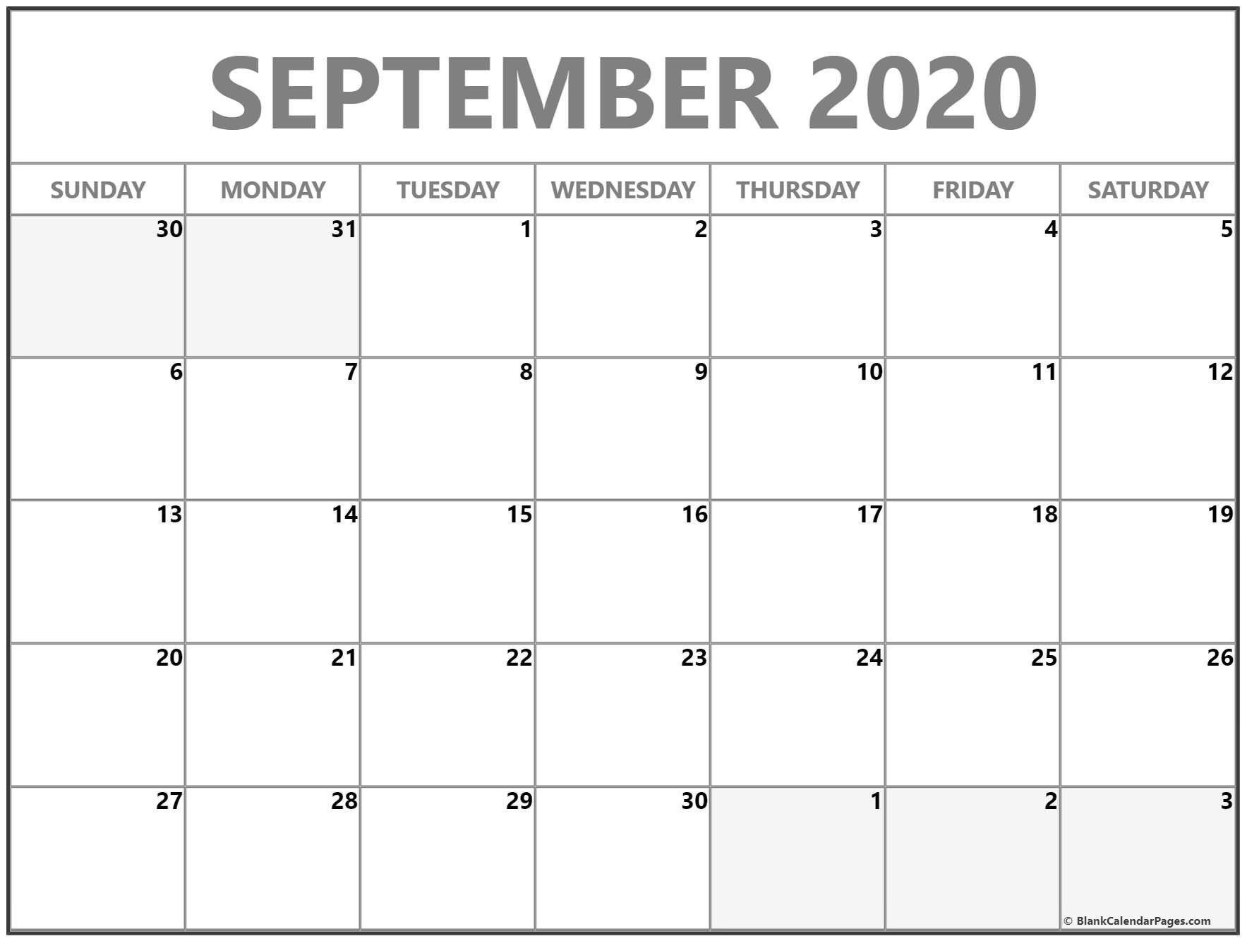 Monday Through Friday September Calendar Template 2020 Monday Through Friday Free Printable Calendar