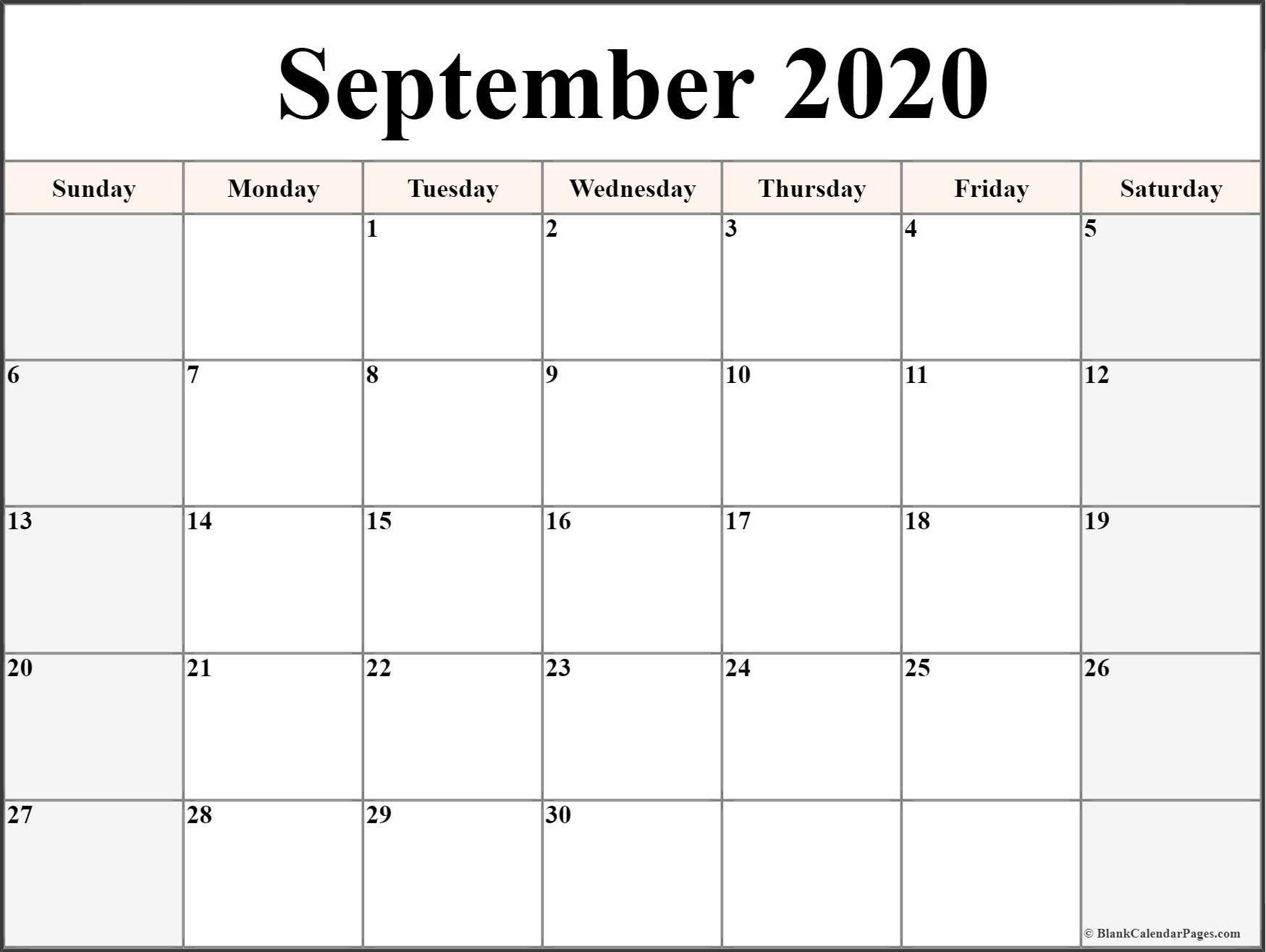 Monday Through Friday September Calendar Template 2020 Printable Monday Through Friday Monthly Calendar Free