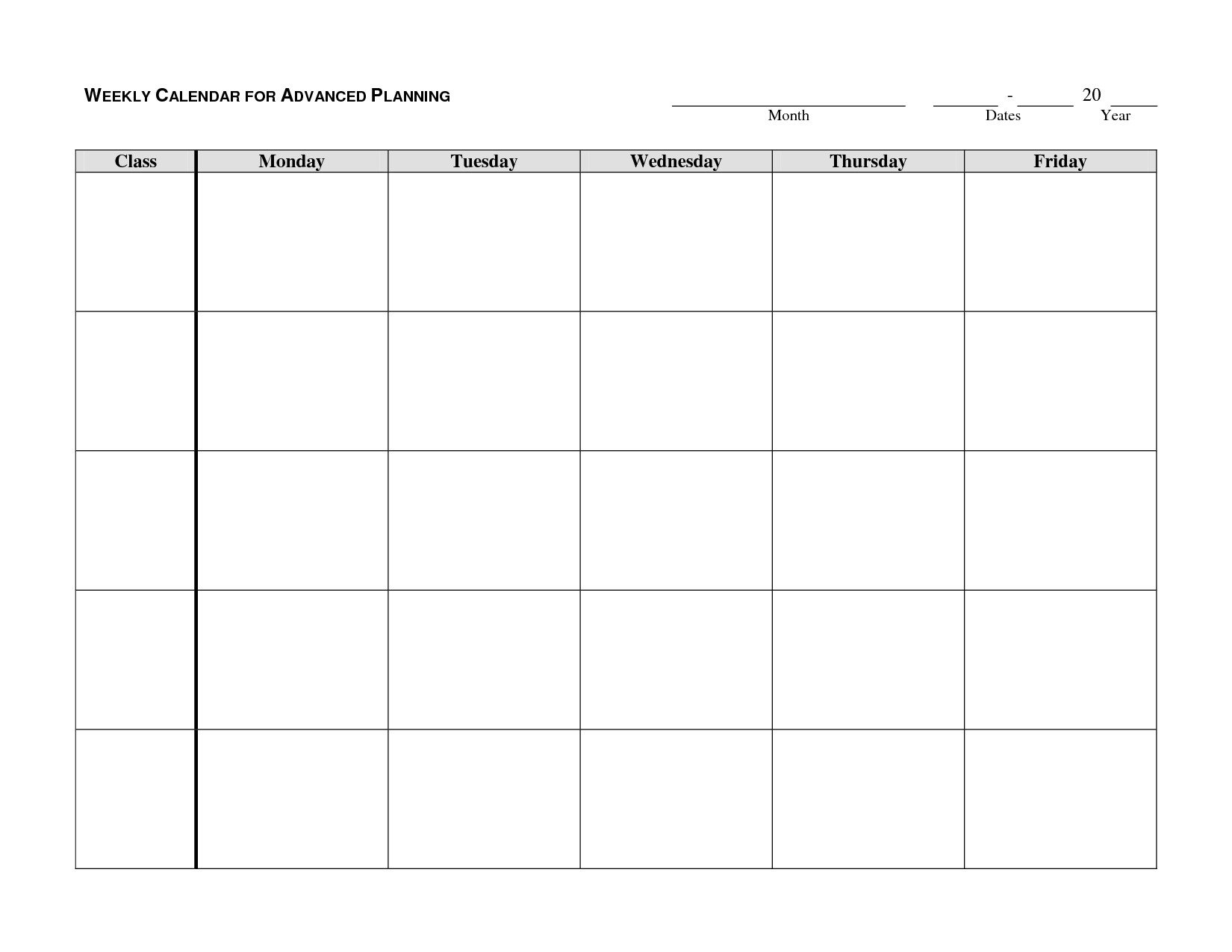 Monday Through Friday Template | Calendar Template Printable Printable Template For A Schedule Monday To Friday