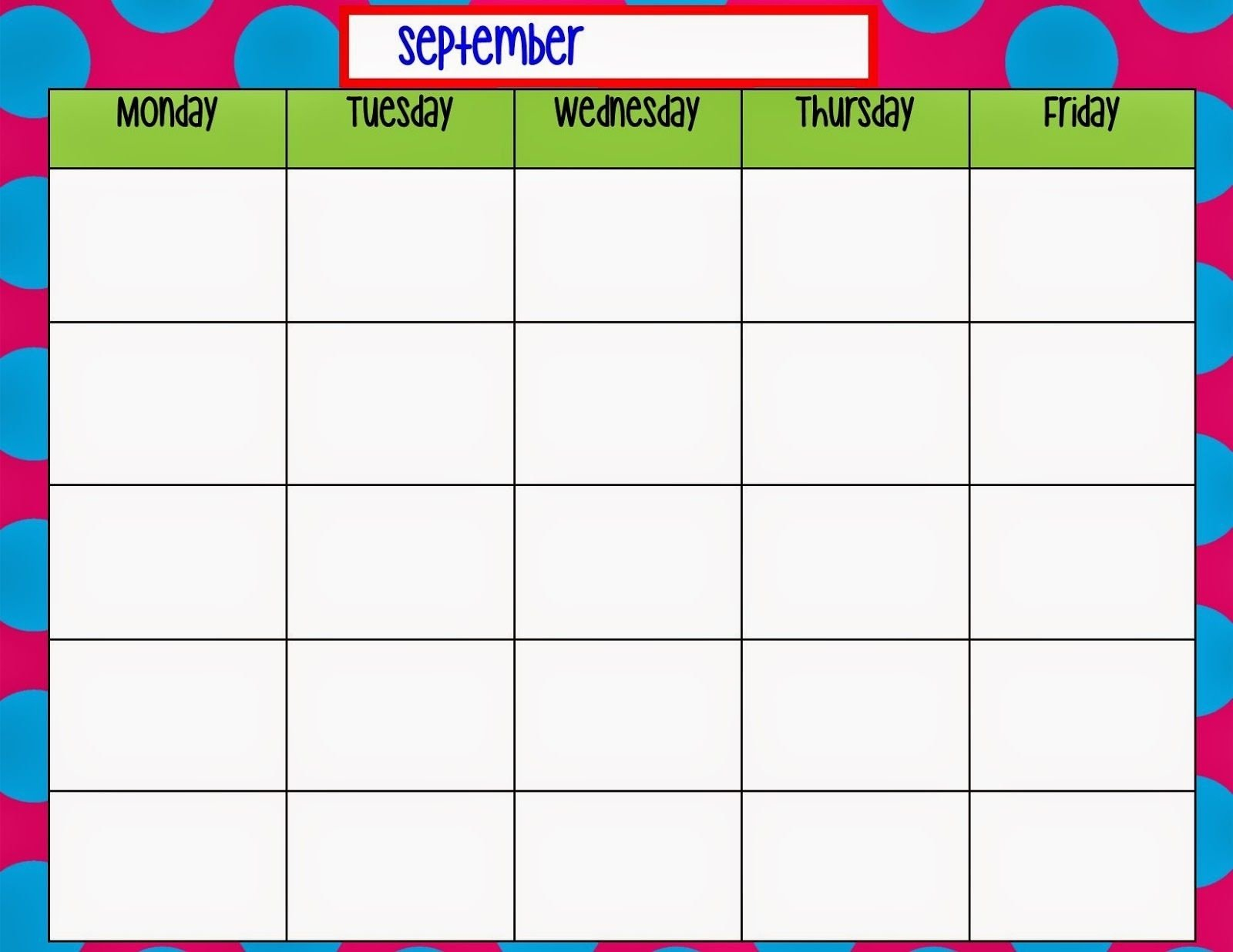 Monday To Friday Blank Calendar Template – Template Blank Free Printable Monday Through Friday