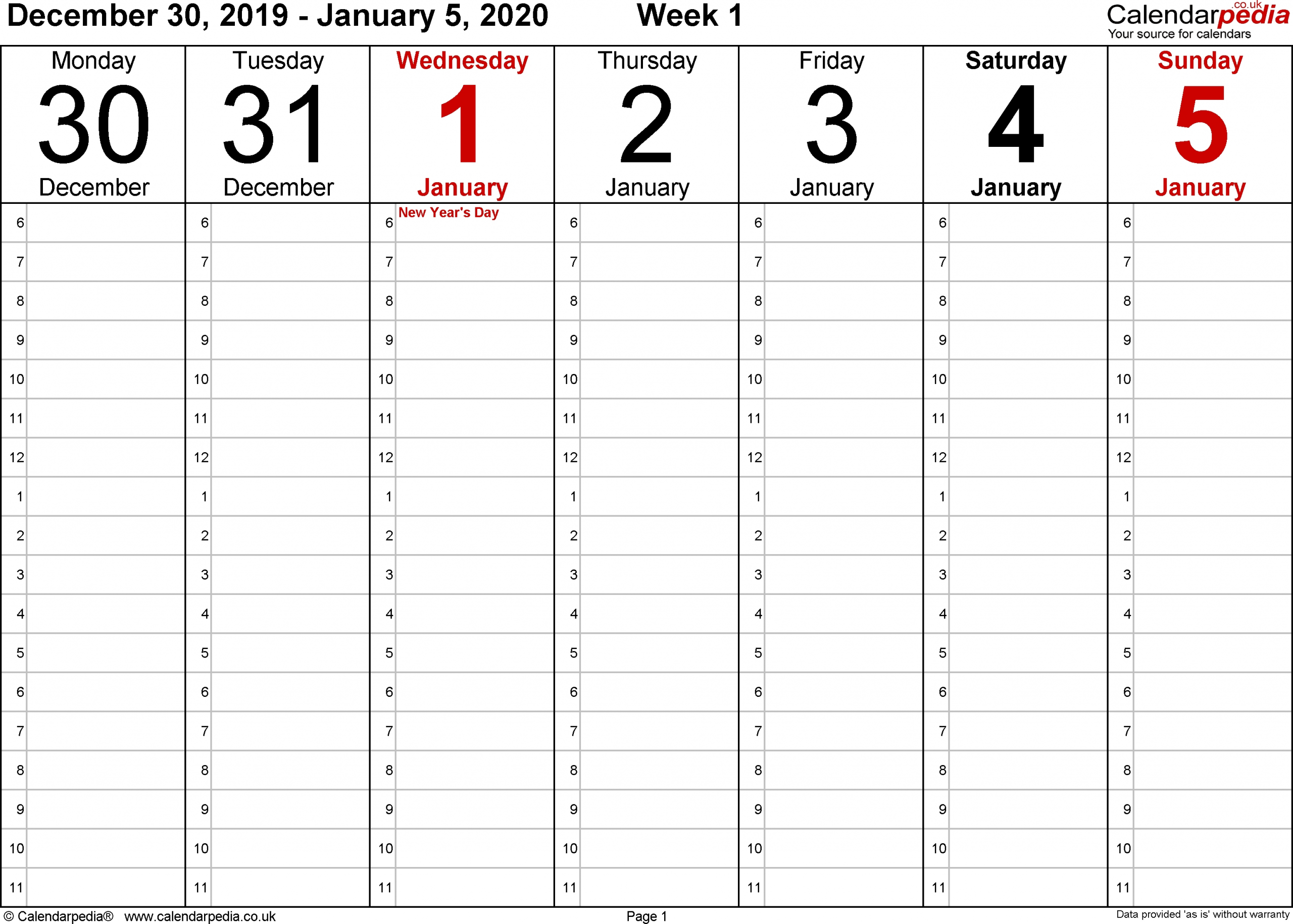 Monday To Friday Planner Templates 2020 | Calendar Free Printable Calendar Monday To Friday