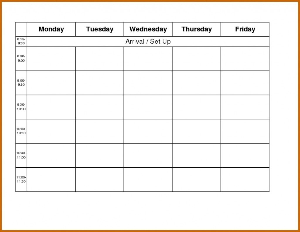 Monday To Friday Schedule Template | Example Calendar Monday Friday Calendar Template Printable
