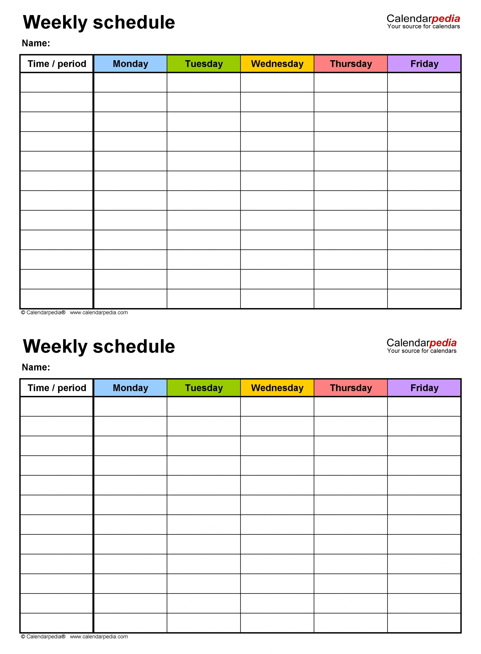 Monday To Friday Timetable Template | Calendar Template Free Printable Weekly Schedule Monday-Fridays