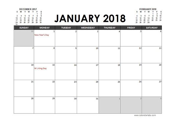 Monthly 2018 Excel Calendar Planner – Free Printable Templates Calendar You Can Edit Online
