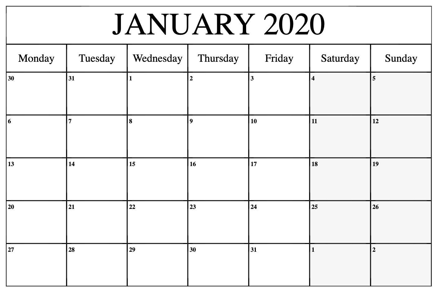 Monthly Calendar Monday To Friday   Calendar Template Free Printable Monday To Friday Calendar