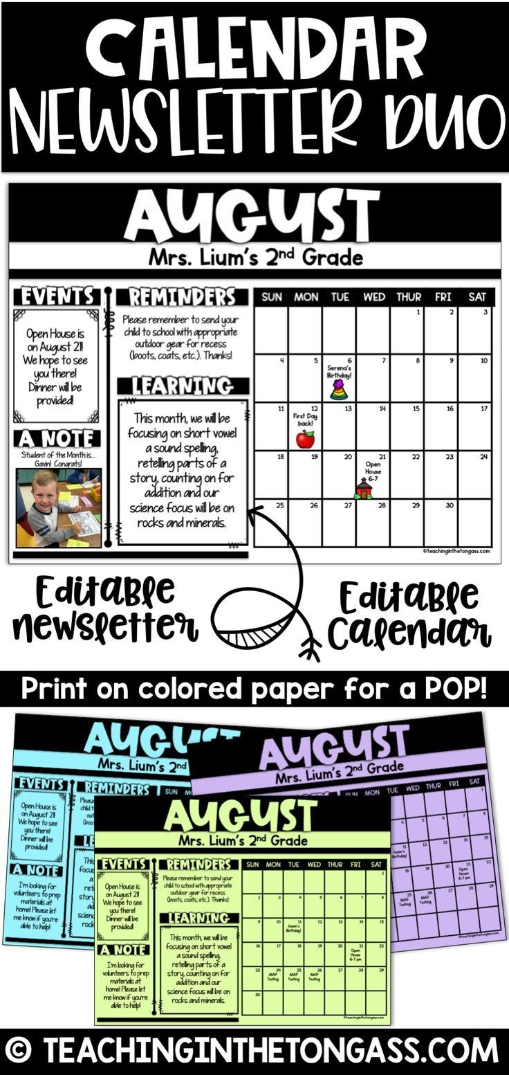 Monthly Calendar Newsletter Template Editable Duo Free Monthly Calendar Template For Church Newsletter