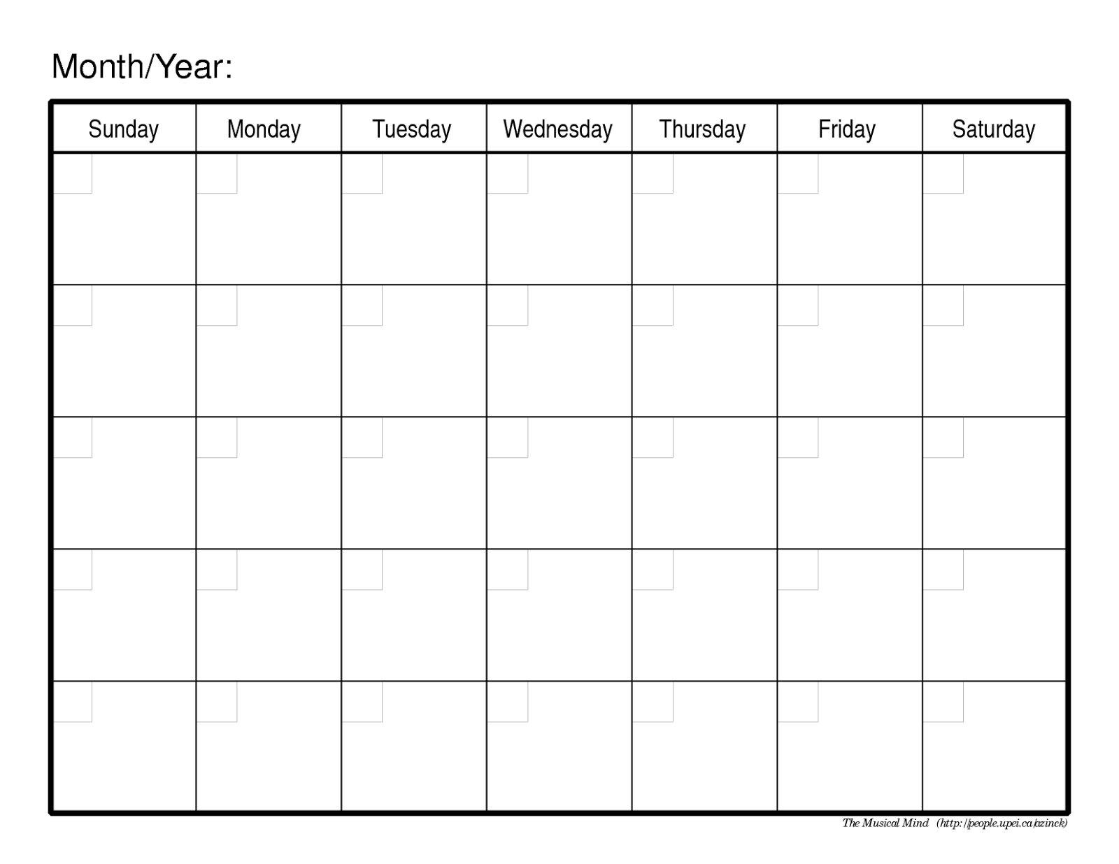 Monthly Calendar No Dates Free Blank Calendar For One Week Printable